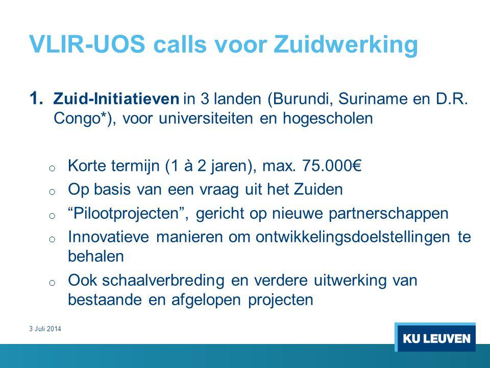 VLIR-UOS calls voor Zuidwerking 1. Zuid-Initiatieven in 3 landen (Burundi, Suriname en D.R.