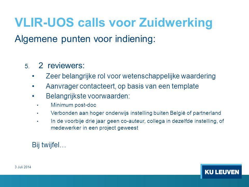 VLIR-UOS calls voor Zuidwerking Algemene punten voor indiening: 5.
