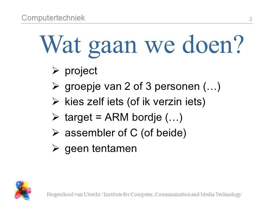 Computertechniek Hogeschool van Utrecht / Institute for Computer, Communication and Media Technology 3 week 1 : intro, groepjes, onderwerp week 2 : aanpak / planning / werkverdeling  meivakantie.