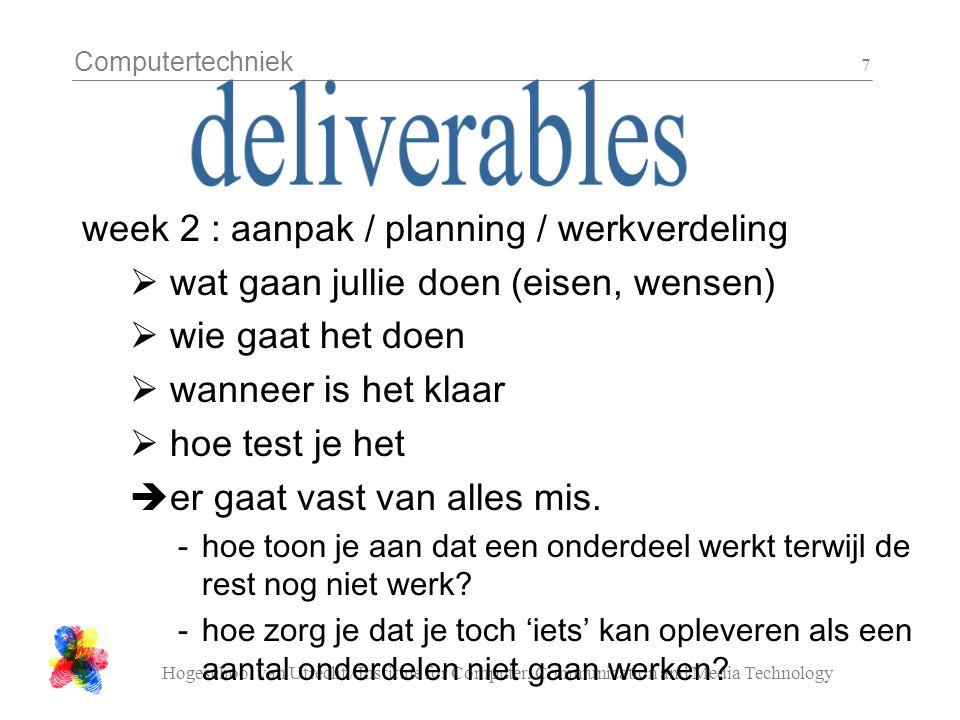 Computertechniek Hogeschool van Utrecht / Institute for Computer, Communication and Media Technology 7 week 2 : aanpak / planning / werkverdeling  wat gaan jullie doen (eisen, wensen)  wie gaat het doen  wanneer is het klaar  hoe test je het  er gaat vast van alles mis.