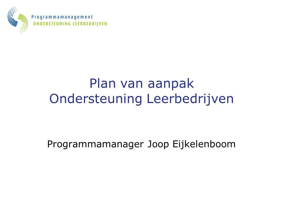 Plan van aanpak Ondersteuning Leerbedrijven Programmamanager Joop Eijkelenboom