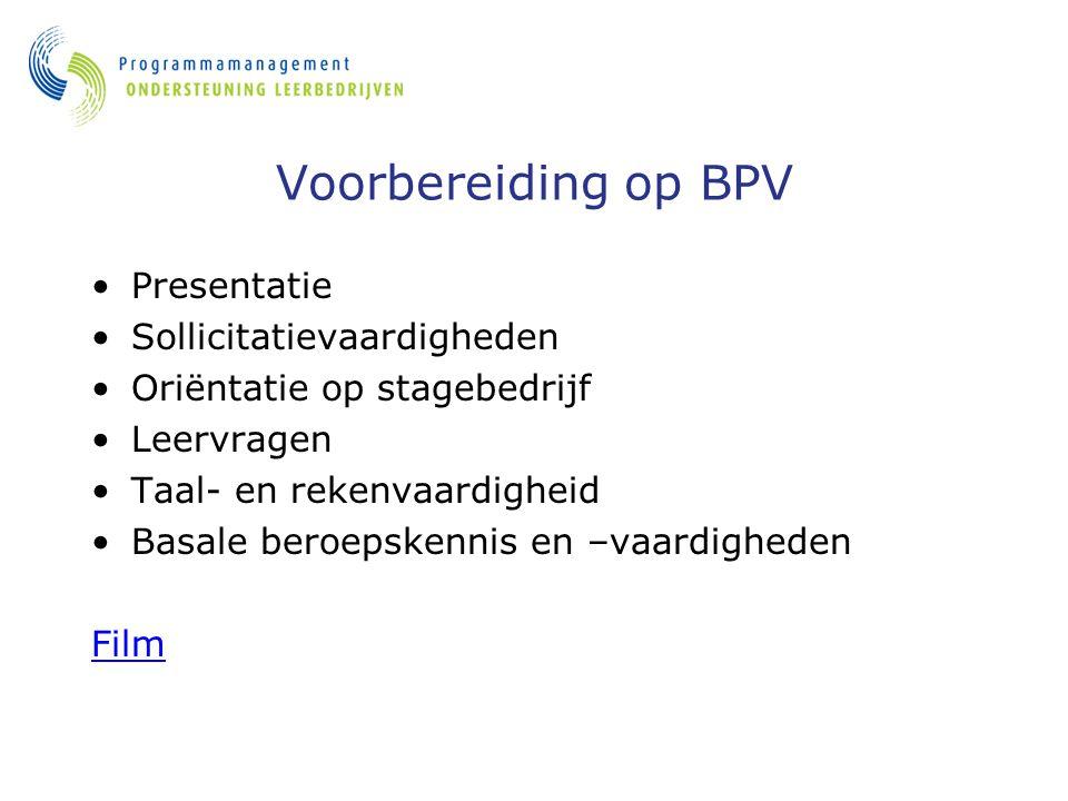 Voorbereiding op BPV Presentatie Sollicitatievaardigheden Oriëntatie op stagebedrijf Leervragen Taal- en rekenvaardigheid Basale beroepskennis en –vaardigheden Film
