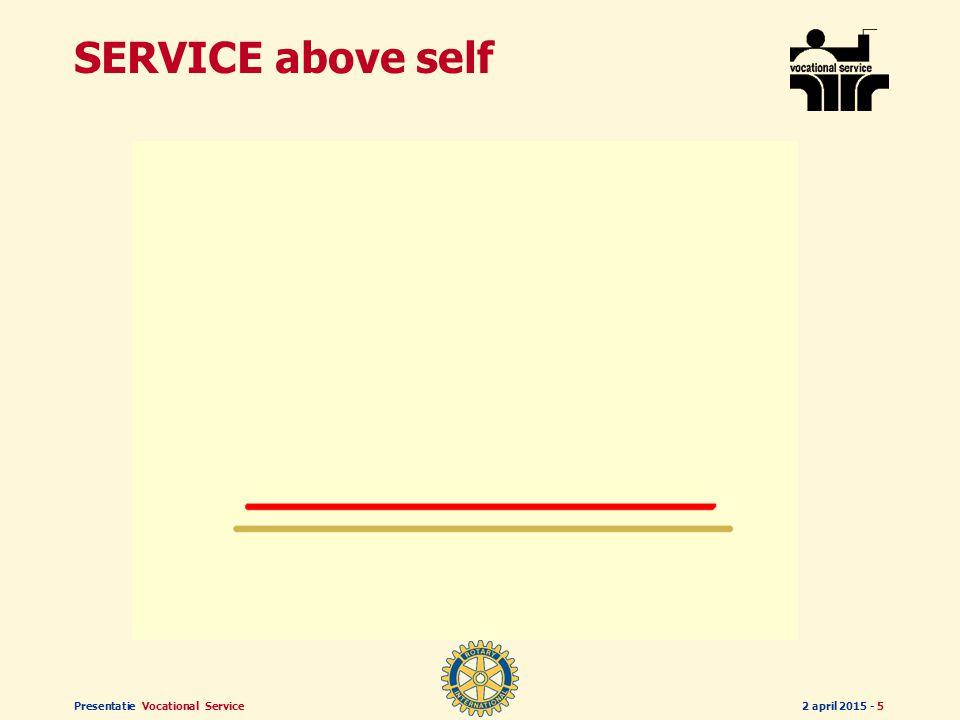 Presentatie Vocational Service2 april 2015 - 15 SERVICE above self SERVICE