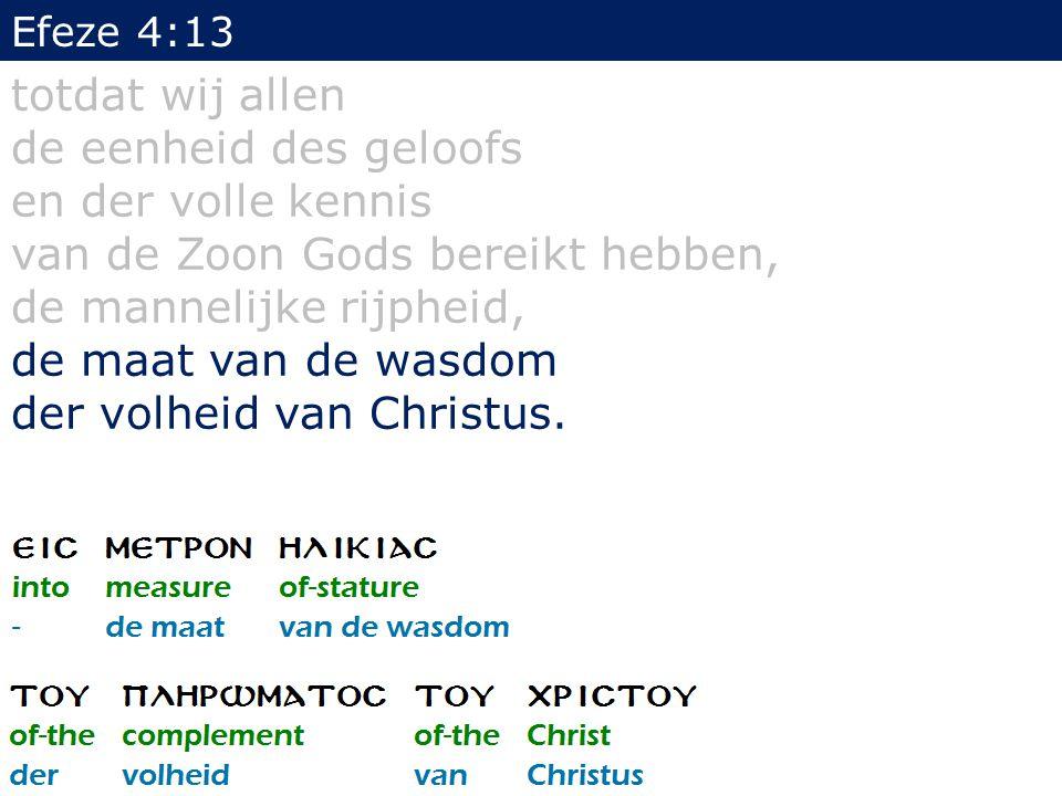 Efeze 4:13 totdat wij allen de eenheid des geloofs en der volle kennis van de Zoon Gods bereikt hebben, de mannelijke rijpheid, de maat van de wasdom