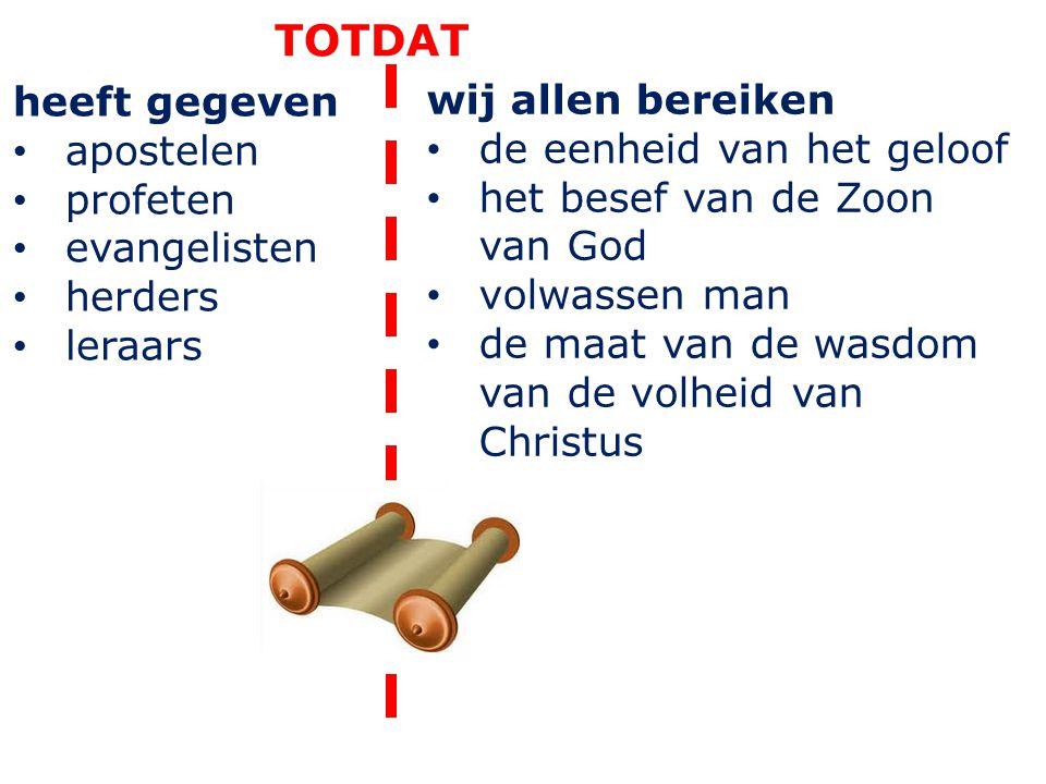 heeft gegeven apostelen profeten evangelisten herders leraars TOTDAT wij allen bereiken de eenheid van het geloof het besef van de Zoon van God volwas