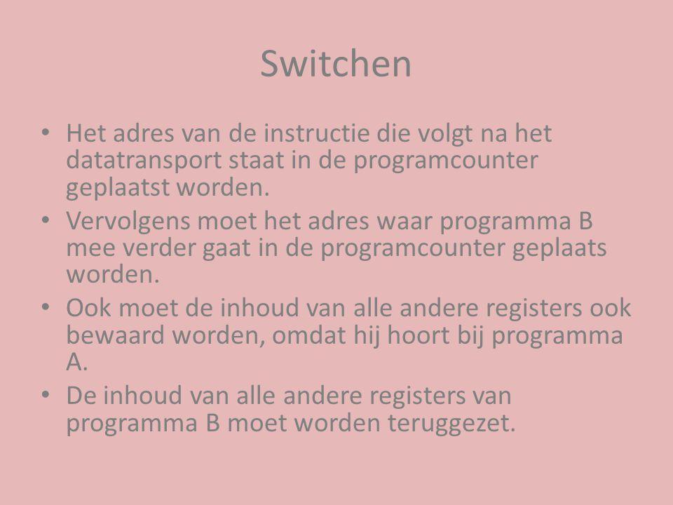 Switchen Het adres van de instructie die volgt na het datatransport staat in de programcounter geplaatst worden.