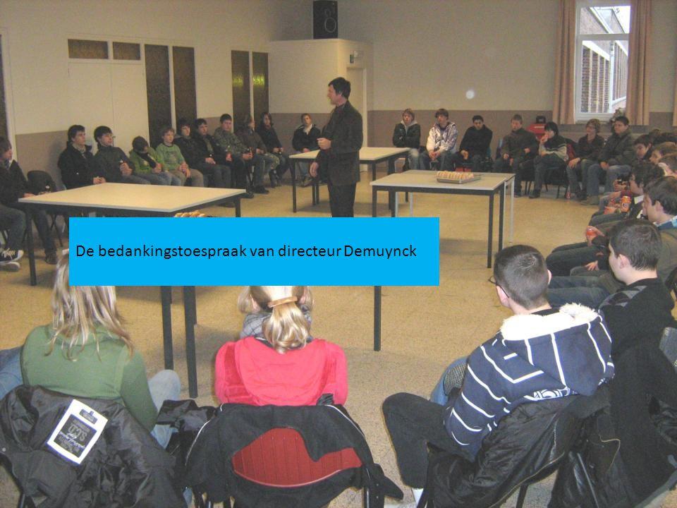 De bedankingstoespraak van directeur Demuynck