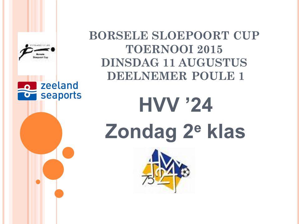 BORSELE SLOEPOORT CUP TOERNOOI 2015 DINSDAG 11 AUGUSTUS DEELNEMER POULE 1 ARNEMUIDEN Zaterdag 2 e klas