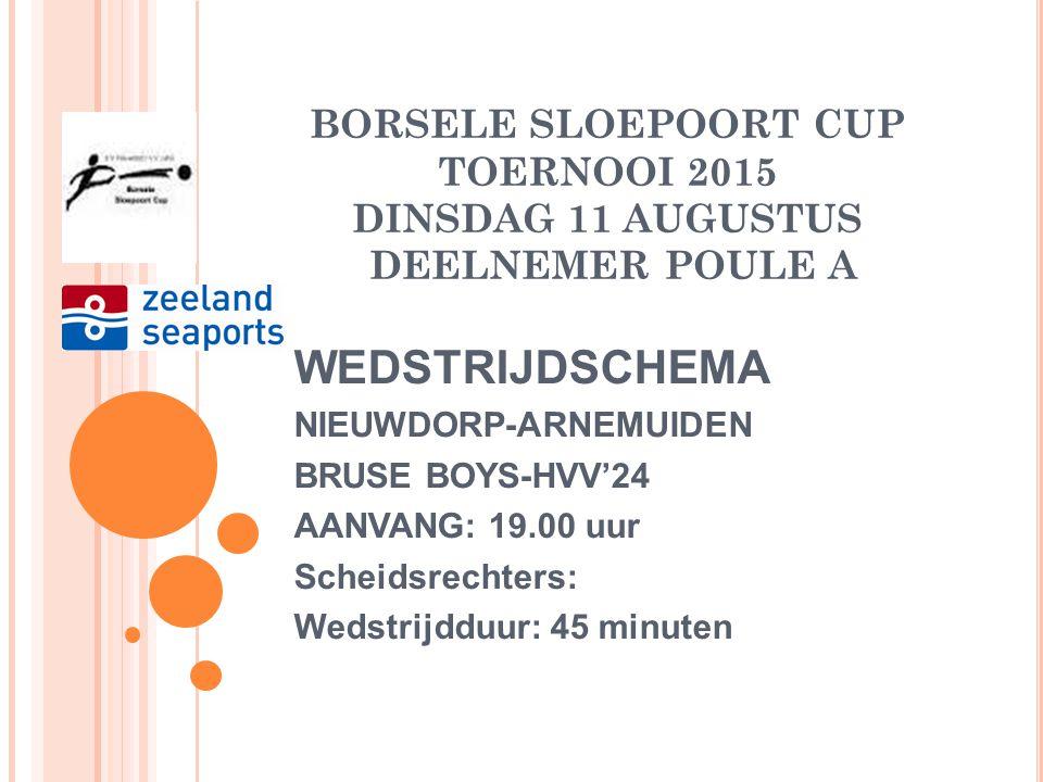 BORSELE SLOEPOORT CUP TOERNOOI 2015 DINSDAG 11 AUGUSTUS DEELNEMER POULE 1 BRUSE BOYS Zaterdag 2 e klas