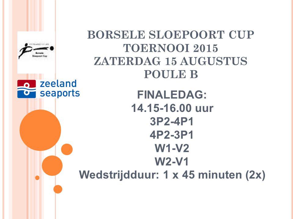 BORSELE SLOEPOORT CUP TOERNOOI 2015 ZATERDAG 15 AUGUSTUS POULE C FINALEDAG: 12.00- 13.45 Winnaar W1-Verliezer W2 Winnaar W2-Verliezer W1 Wedstrijdduur