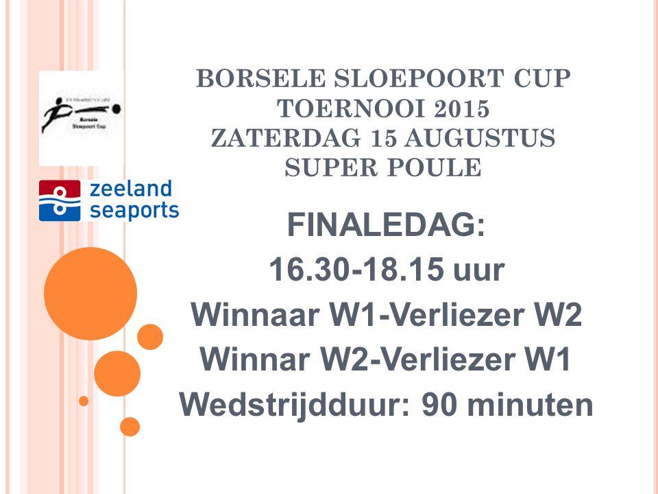 BORSELE SLOEPOORT CUP TOERNOOI 2015 ZATERDAG 15 AUGUSTUS POULE B FINALEDAG: 14.15-16.00 uur 3P2-4P1 4P2-3P1 W1-V2 W2-V1 Wedstrijdduur: 1 x 45 minuten