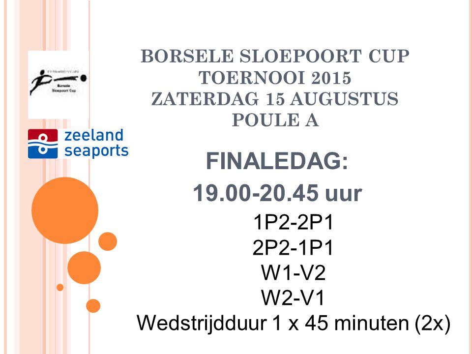 BORSELE SLOEPOORT CUP TOERNOOI 2015 ZATERDAG 15 AUGUSTUS SUPER POULE FINALEDAG: 16.30-18.15 uur Winnaar W1-Verliezer W2 Winnar W2-Verliezer W1 Wedstri