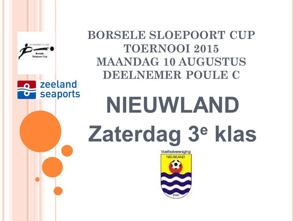 BORSELE SLOEPOORT CUP TOERNOOI 2015 ZATERDAG 15 AUGUSTUS POULE C FINALEDAG: 12.00- 13.45 Winnaar W1-Verliezer W2 Winnaar W2-Verliezer W1 Wedstrijdduur 90 minuten