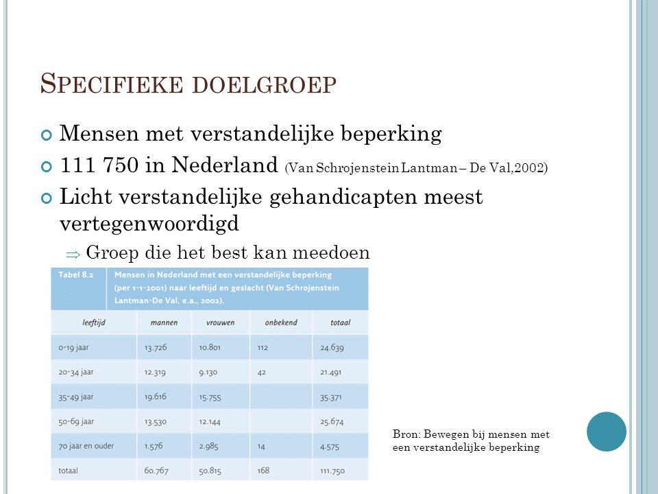 S PECIFIEKE DOELGROEP Mensen met verstandelijke beperking 111 750 in Nederland (Van Schrojenstein Lantman – De Val,2002 ) Licht verstandelijke gehandicapten meest vertegenwoordigd  Groep die het best kan meedoen Bron: Bewegen bij mensen met een verstandelijke beperking