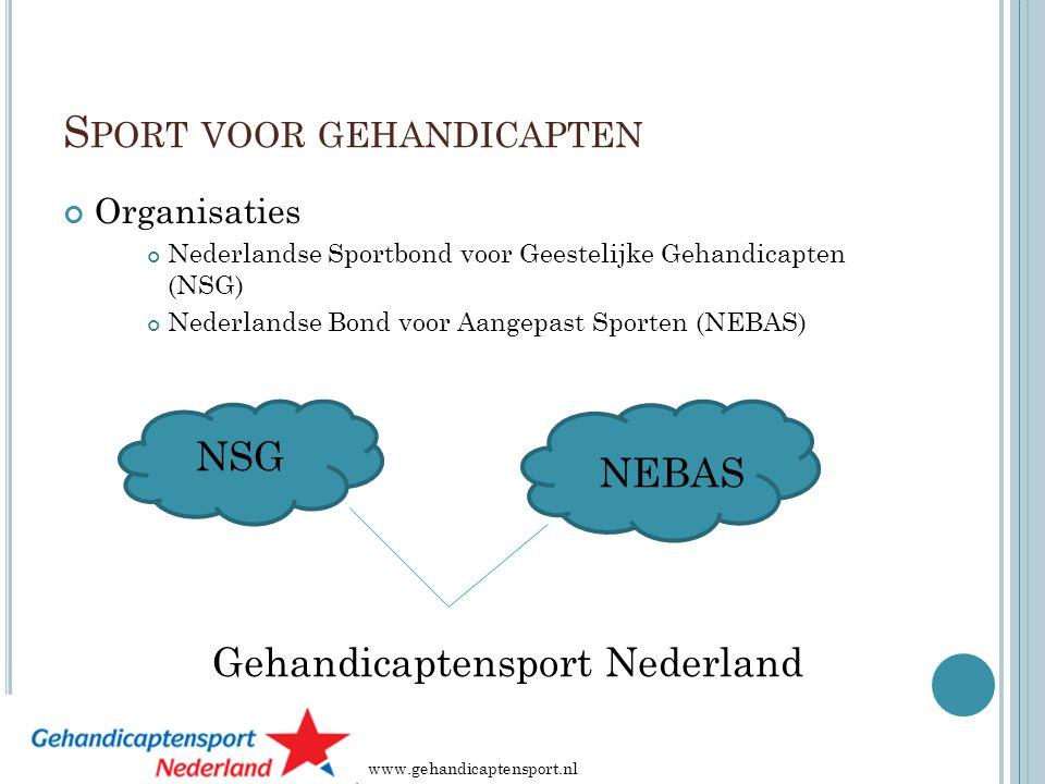 S PORT VOOR GEHANDICAPTEN Organisaties Nederlandse Sportbond voor Geestelijke Gehandicapten (NSG) Nederlandse Bond voor Aangepast Sporten (NEBAS) NSG NEBAS Gehandicaptensport Nederland www.gehandicaptensport.nl