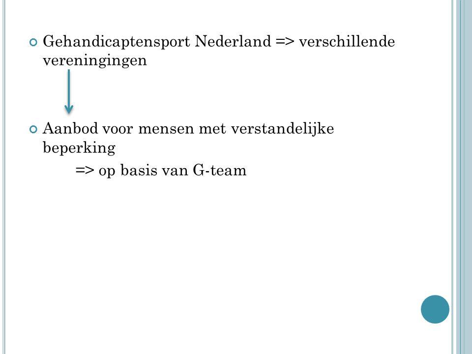 Gehandicaptensport Nederland => verschillende vereningingen Aanbod voor mensen met verstandelijke beperking => op basis van G-team