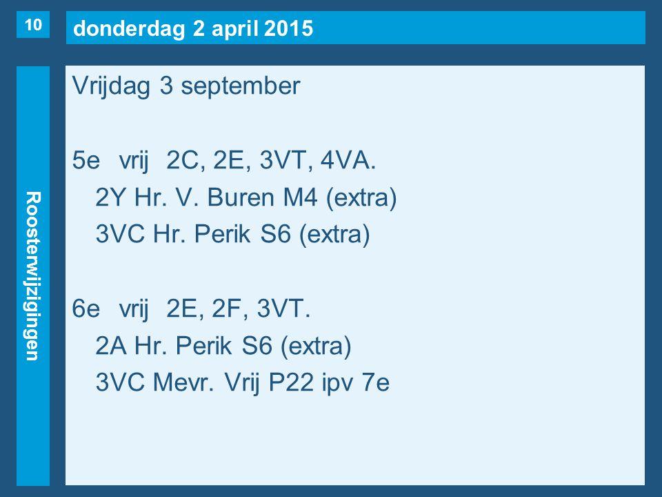 donderdag 2 april 2015 Roosterwijzigingen Vrijdag 3 september 5evrij2C, 2E, 3VT, 4VA.