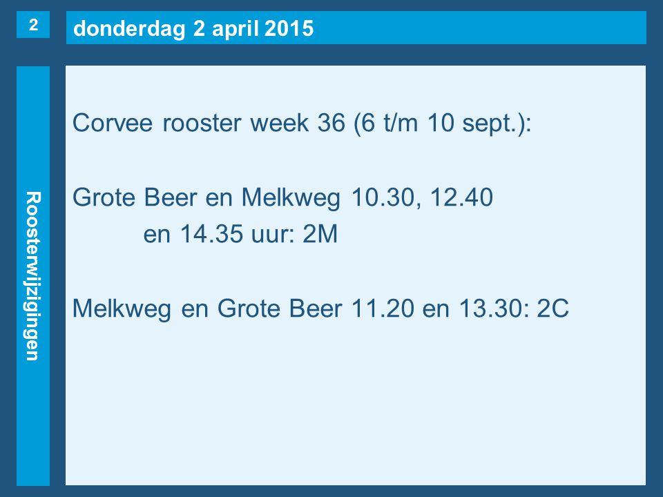 donderdag 2 april 2015 Roosterwijzigingen Corvee rooster week 36 (6 t/m 10 sept.): Grote Beer en Melkweg 10.30, 12.40 en 14.35 uur: 2M Melkweg en Grote Beer 11.20 en 13.30: 2C 2