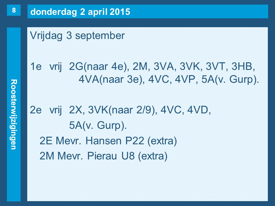 donderdag 2 april 2015 Roosterwijzigingen Vrijdag 3 september 1evrij2G(naar 4e), 2M, 3VA, 3VK, 3VT, 3HB, 4VA(naar 3e), 4VC, 4VP, 5A(v.