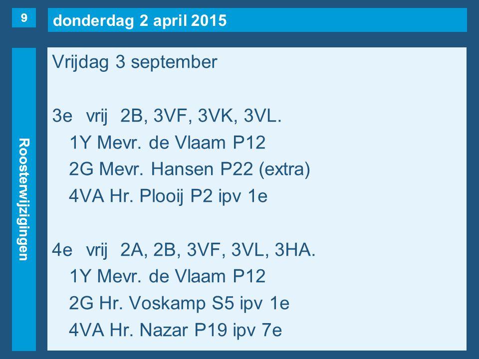 donderdag 2 april 2015 Roosterwijzigingen Vrijdag 3 september 3evrij2B, 3VF, 3VK, 3VL.