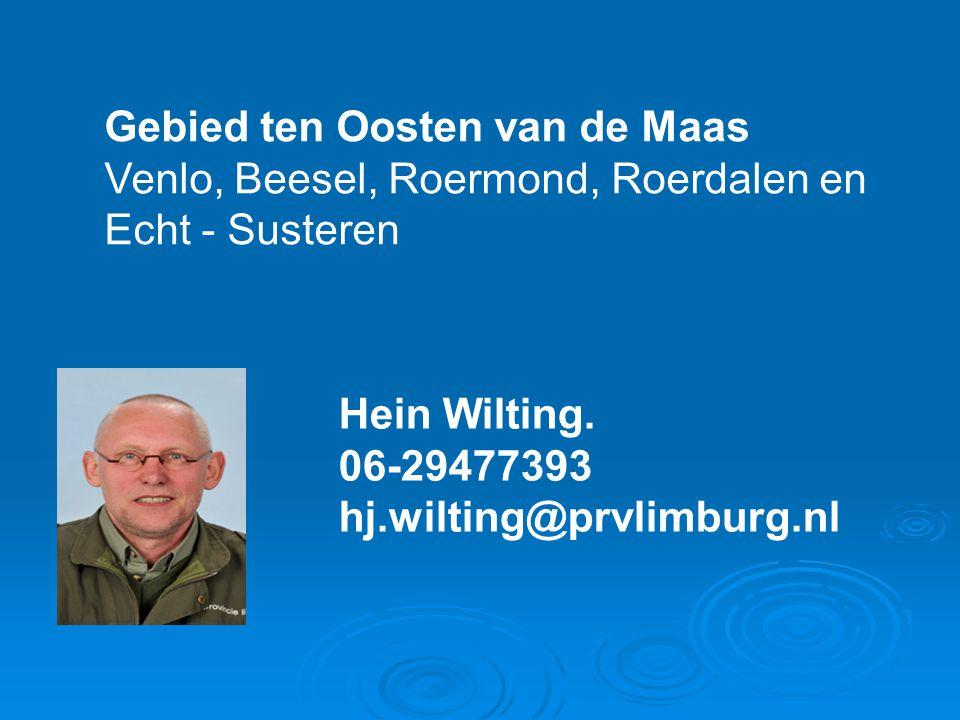 Gebied ten Oosten van de Maas Venlo, Beesel, Roermond, Roerdalen en Echt - Susteren Hein Wilting. 06-29477393 hj.wilting@prvlimburg.nl