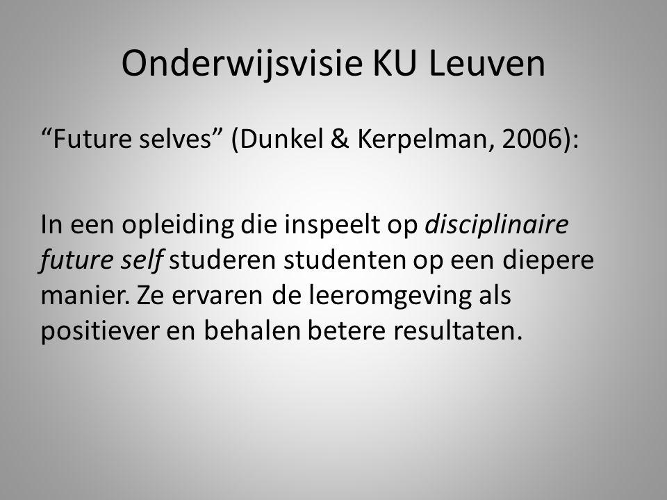"""Onderwijsvisie KU Leuven """"Future selves"""" (Dunkel & Kerpelman, 2006): In een opleiding die inspeelt op disciplinaire future self studeren studenten op"""