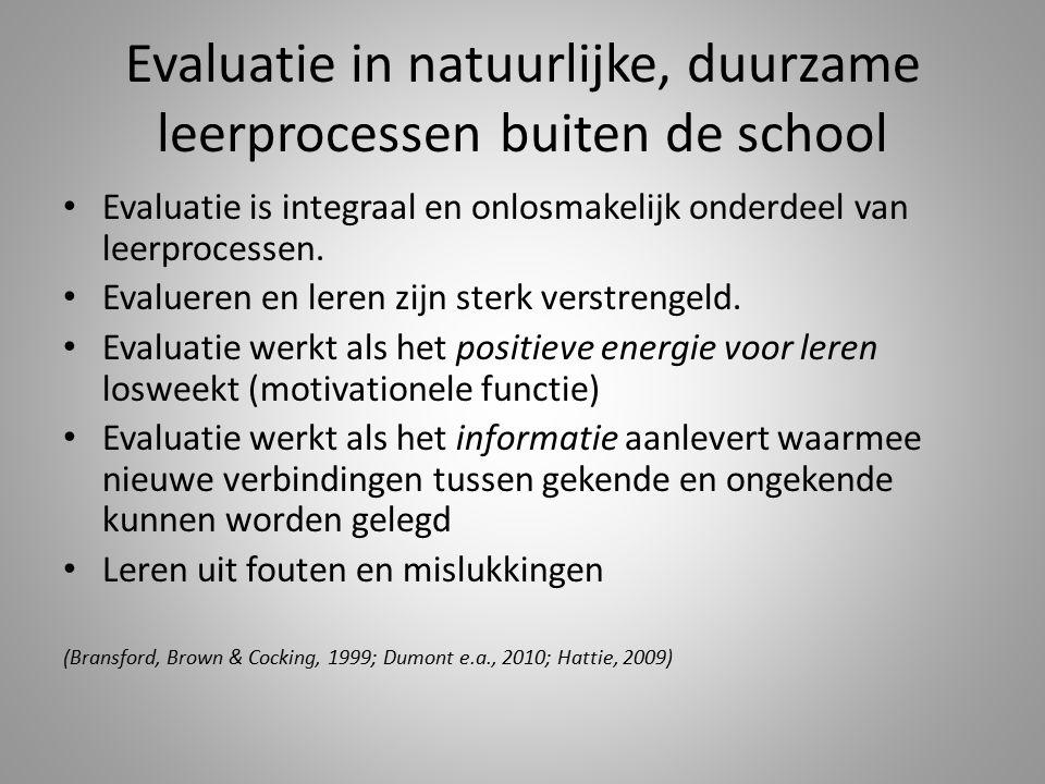 Evaluatie in natuurlijke, duurzame leerprocessen buiten de school Evaluatie is integraal en onlosmakelijk onderdeel van leerprocessen. Evalueren en le