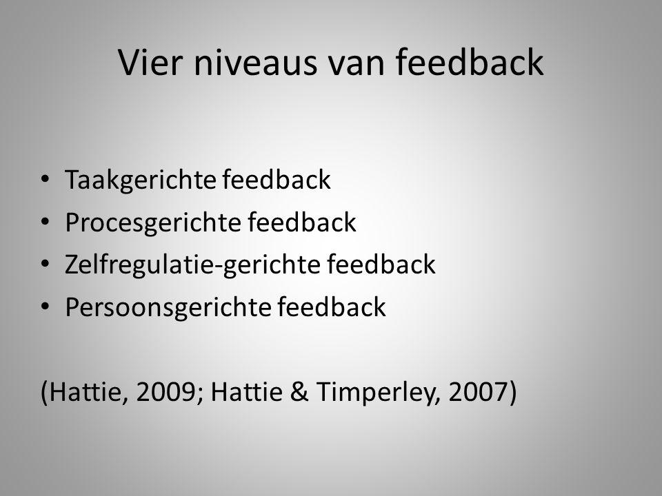 Vier niveaus van feedback Taakgerichte feedback Procesgerichte feedback Zelfregulatie-gerichte feedback Persoonsgerichte feedback (Hattie, 2009; Hatti