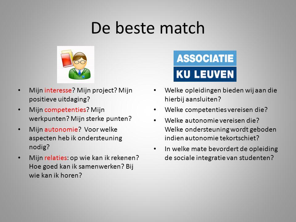 De beste match Mijn interesse? Mijn project? Mijn positieve uitdaging? Mijn competenties? Mijn werkpunten? Mijn sterke punten? Mijn autonomie? Voor we