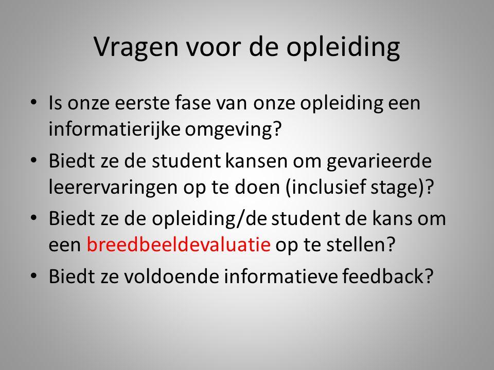 Vragen voor de opleiding Is onze eerste fase van onze opleiding een informatierijke omgeving? Biedt ze de student kansen om gevarieerde leerervaringen