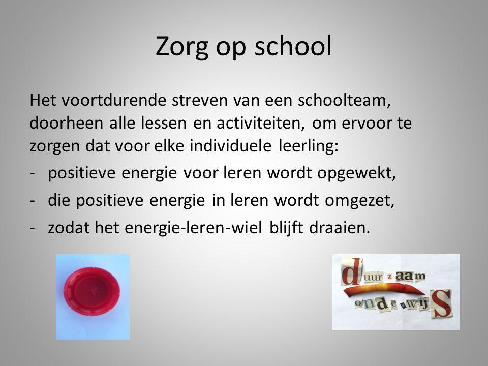Zorg op school Het voortdurende streven van een schoolteam, doorheen alle lessen en activiteiten, om ervoor te zorgen dat voor elke individuele leerli