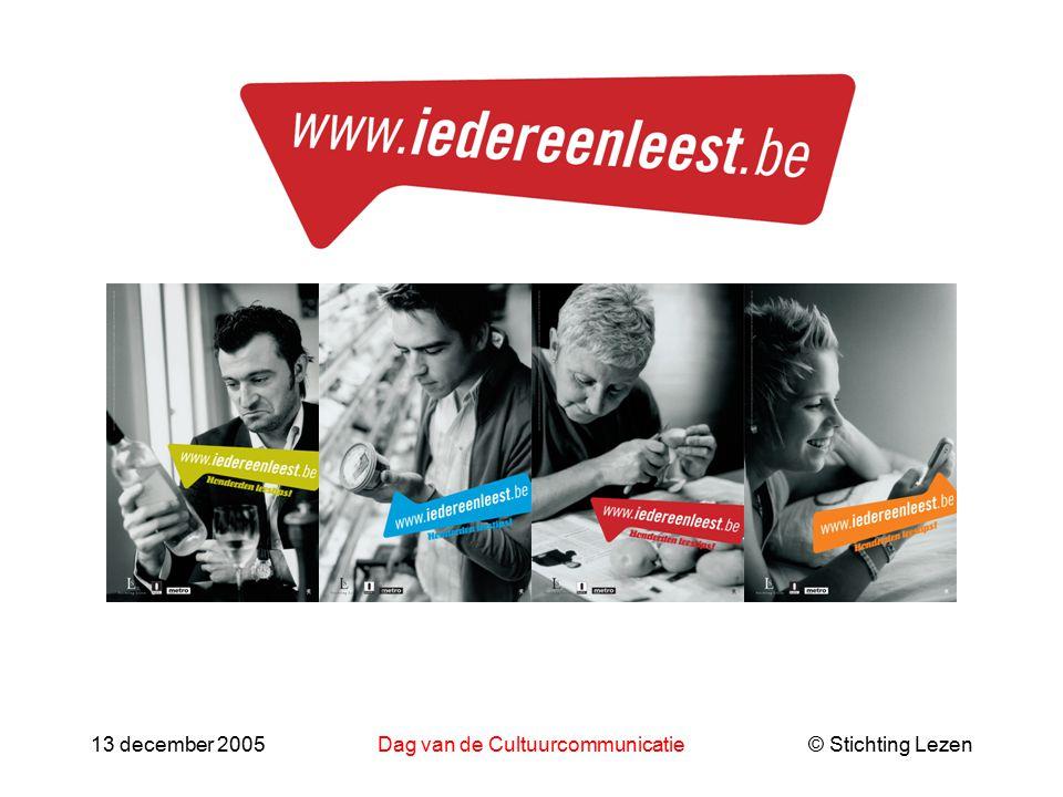 © Stichting Lezen13 december 2005Dag van de Cultuurcommunicatie