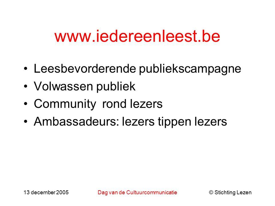 © Stichting Lezen13 december 2005Dag van de Cultuurcommunicatie www.iedereenleest.be Leesbevorderende publiekscampagne Volwassen publiek Community rond lezers Ambassadeurs: lezers tippen lezers
