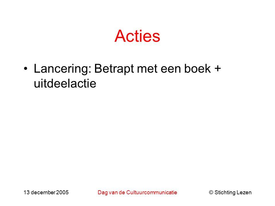 © Stichting Lezen13 december 2005Dag van de Cultuurcommunicatie Acties Lancering: Betrapt met een boek + uitdeelactie
