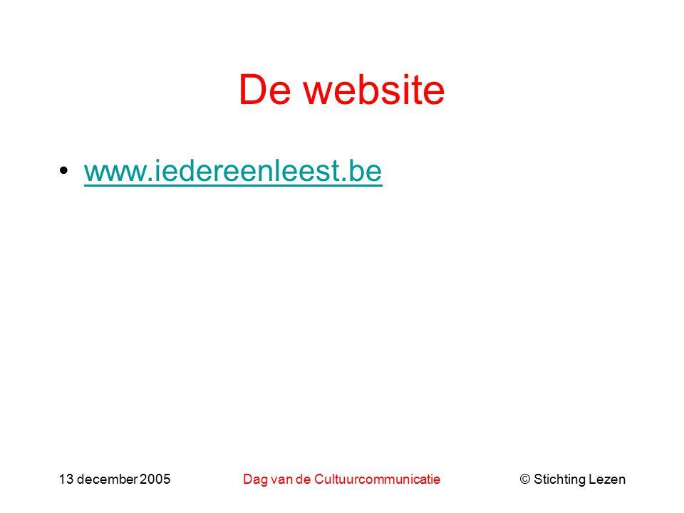 © Stichting Lezen13 december 2005Dag van de Cultuurcommunicatie De website www.iedereenleest.be
