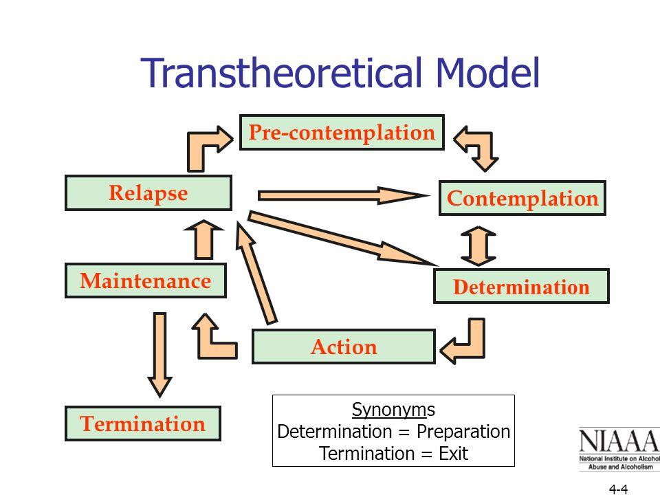 4-16 Nn Transtheoretical Model Determination Relapse Pre-contemplation Contemplation Maintenance Action Termination Synonyms Determination = Preparation Termination = Exit 4-4