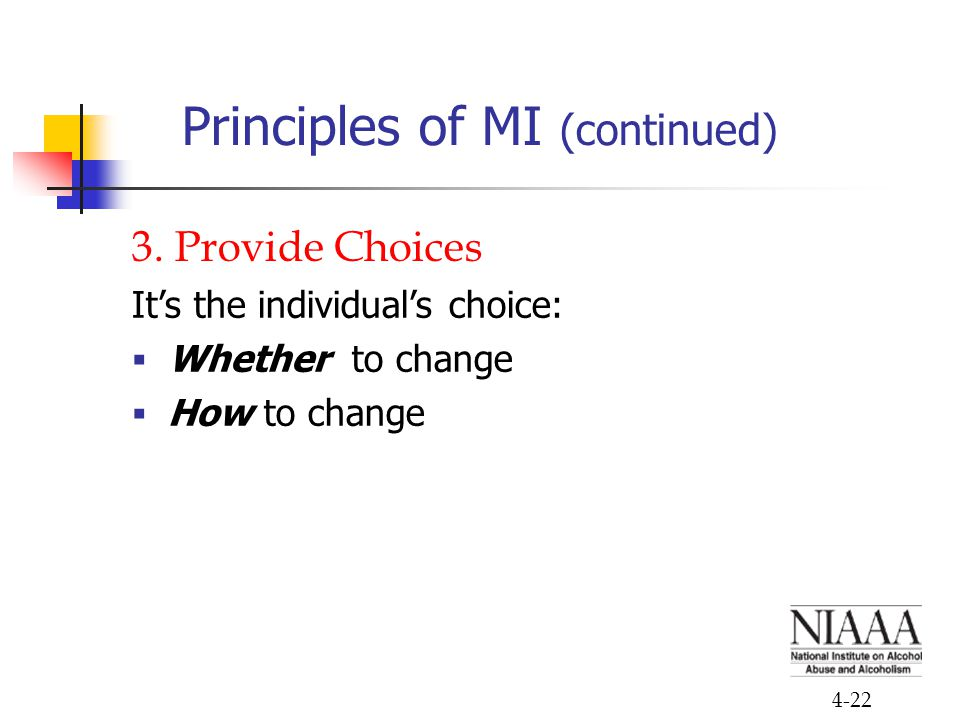 4-22 Principles of MI (continued) 3. Provide Choices It's the individual's choice:  Whether to change  How to change