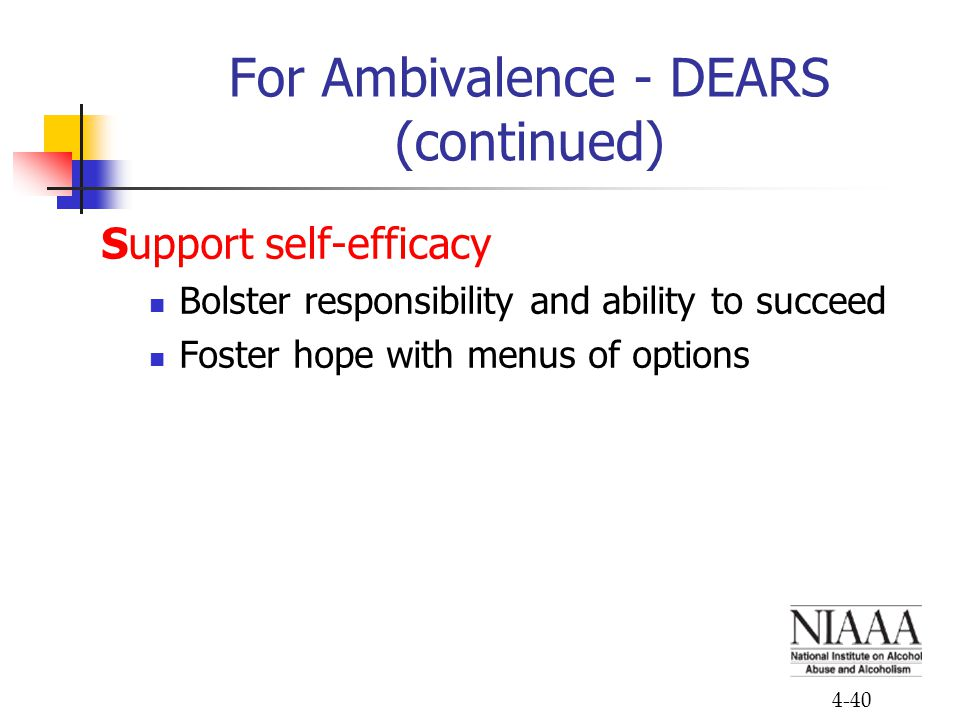 4-40 For Ambivalence - DEARS (continued) Support self-efficacy Bolster responsibility and ability to succeed Foster hope with menus of options