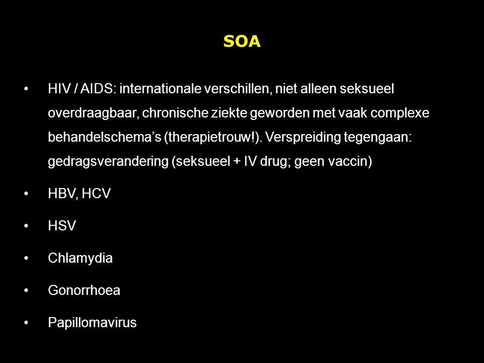 SOA HIV / AIDS: internationale verschillen, niet alleen seksueel overdraagbaar, chronische ziekte geworden met vaak complexe behandelschema's (therapietrouw!).