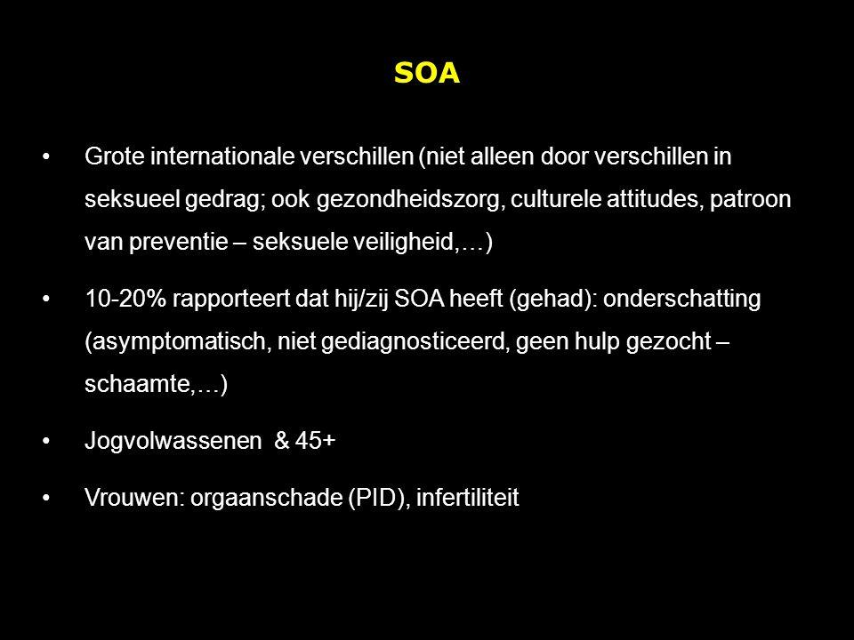 SOA Grote internationale verschillen (niet alleen door verschillen in seksueel gedrag; ook gezondheidszorg, culturele attitudes, patroon van preventie – seksuele veiligheid,…) 10-20% rapporteert dat hij/zij SOA heeft (gehad): onderschatting (asymptomatisch, niet gediagnosticeerd, geen hulp gezocht – schaamte,…) Jogvolwassenen & 45+ Vrouwen: orgaanschade (PID), infertiliteit