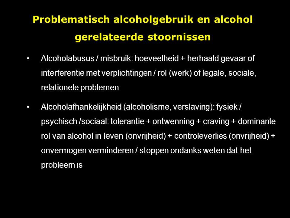 Alcoholabusus / misbruik: hoeveelheid + herhaald gevaar of interferentie met verplichtingen / rol (werk) of legale, sociale, relationele problemen Alcoholafhankelijkheid (alcoholisme, verslaving): fysiek / psychisch /sociaal: tolerantie + ontwenning + craving + dominante rol van alcohol in leven (onvrijheid) + controleverlies (onvrijheid) + onvermogen verminderen / stoppen ondanks weten dat het probleem is Problematisch alcoholgebruik en alcohol gerelateerde stoornissen