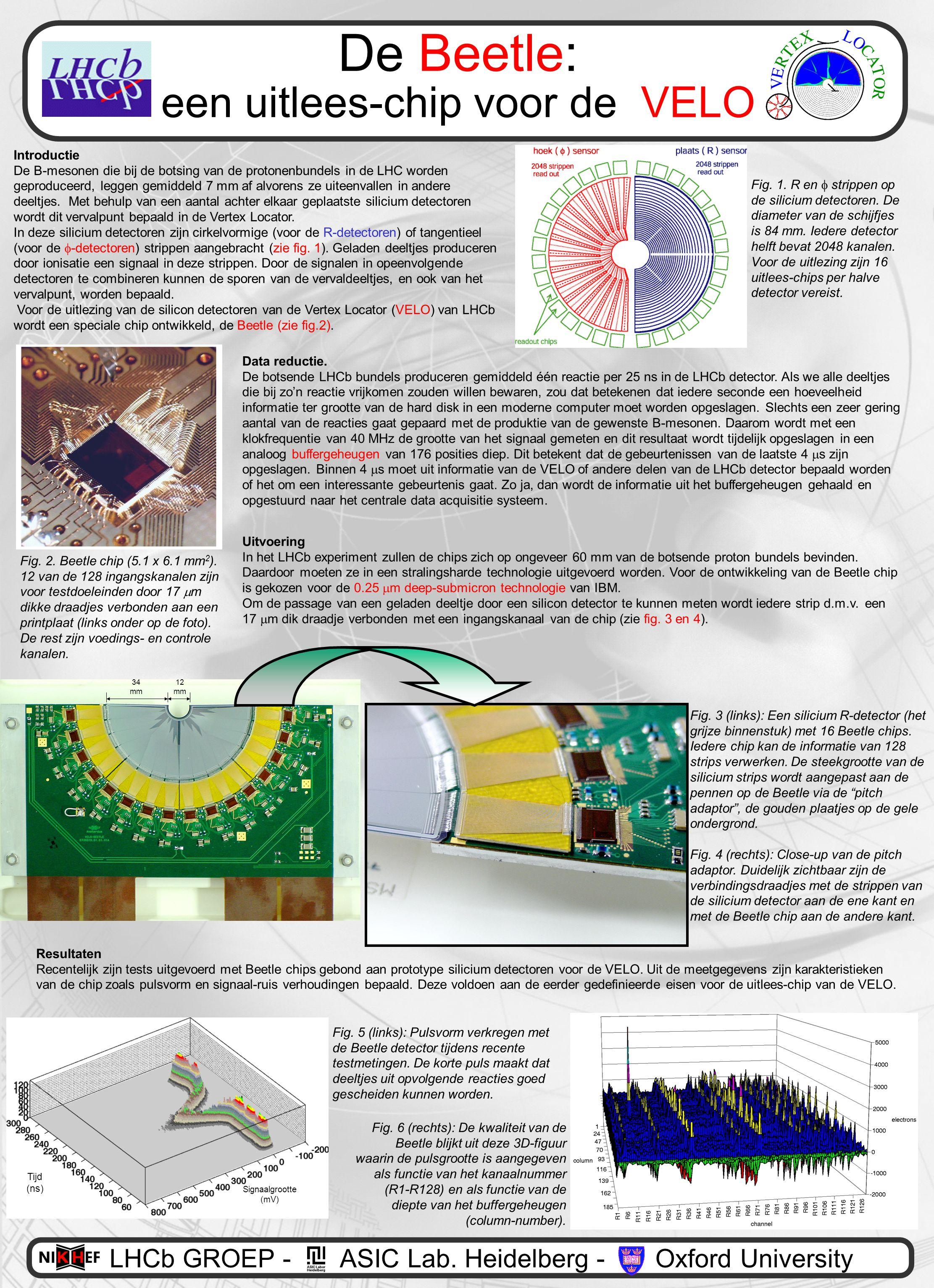 De Beetle: een uitlees-chip voor de VELO Introductie De B-mesonen die bij de botsing van de protonenbundels in de LHC worden geproduceerd, leggen gemiddeld 7 mm af alvorens ze uiteenvallen in andere deeltjes.