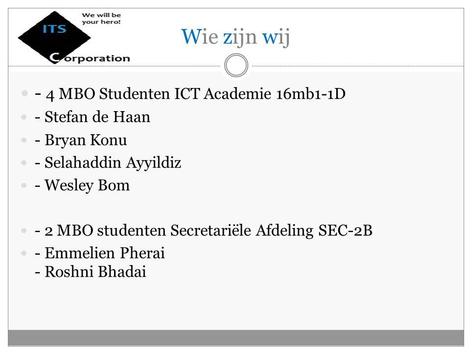 Wie zijn wij - 4 MBO Studenten ICT Academie 16mb1-1D - Stefan de Haan - Bryan Konu - Selahaddin Ayyildiz - Wesley Bom - 2 MBO studenten Secretariële Afdeling SEC-2B - Emmelien Pherai - Roshni Bhadai