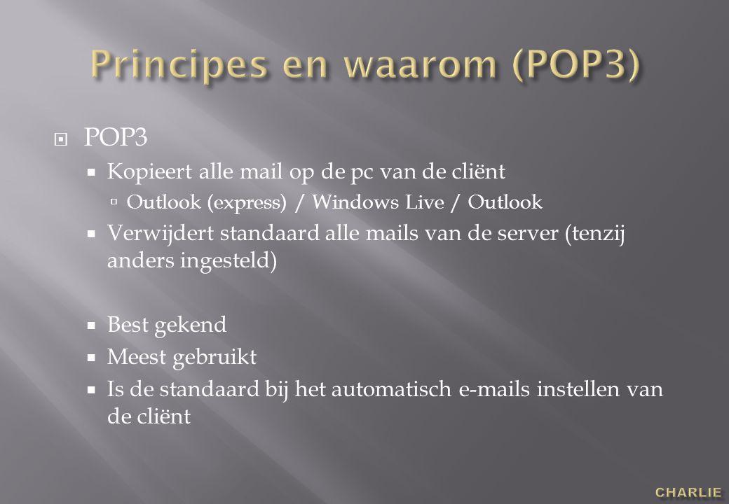  POP3  Kopieert alle mail op de pc van de cliënt  Outlook (express) / Windows Live / Outlook  Verwijdert standaard alle mails van de server (tenzij anders ingesteld)  Best gekend  Meest gebruikt  Is de standaard bij het automatisch e-mails instellen van de cliënt