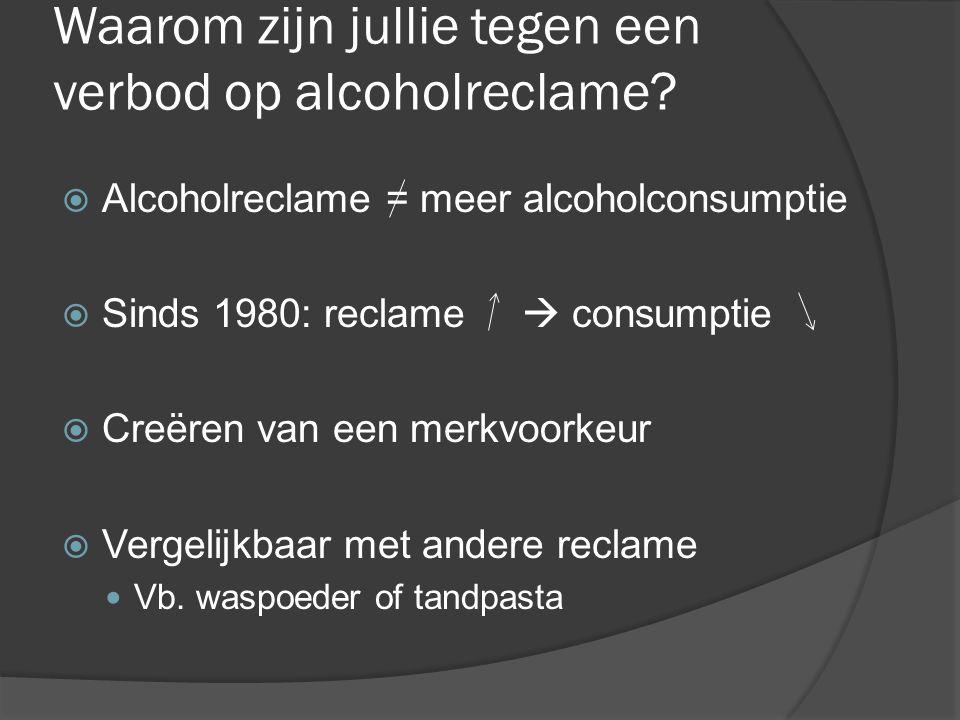 Waarom zijn jullie tegen een verbod op alcoholreclame?  Alcoholreclame = meer alcoholconsumptie  Sinds 1980: reclame  consumptie  Creëren van een