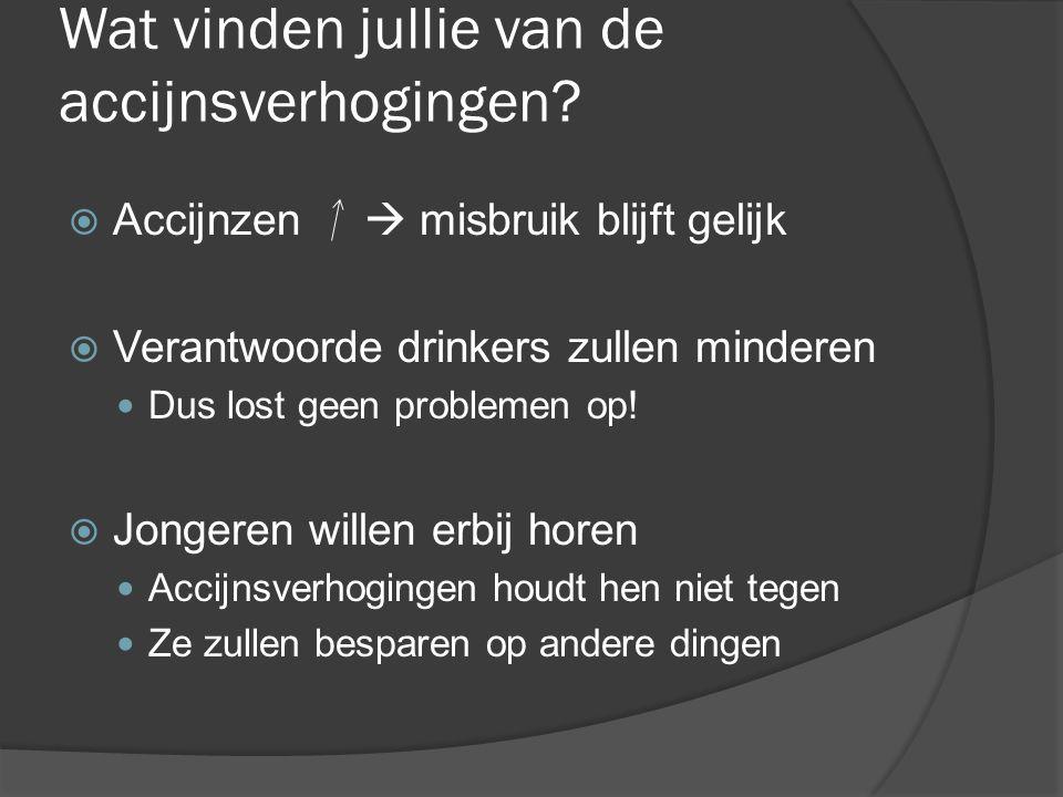 Wat vinden jullie van de accijnsverhogingen?  Accijnzen  misbruik blijft gelijk  Verantwoorde drinkers zullen minderen Dus lost geen problemen op!