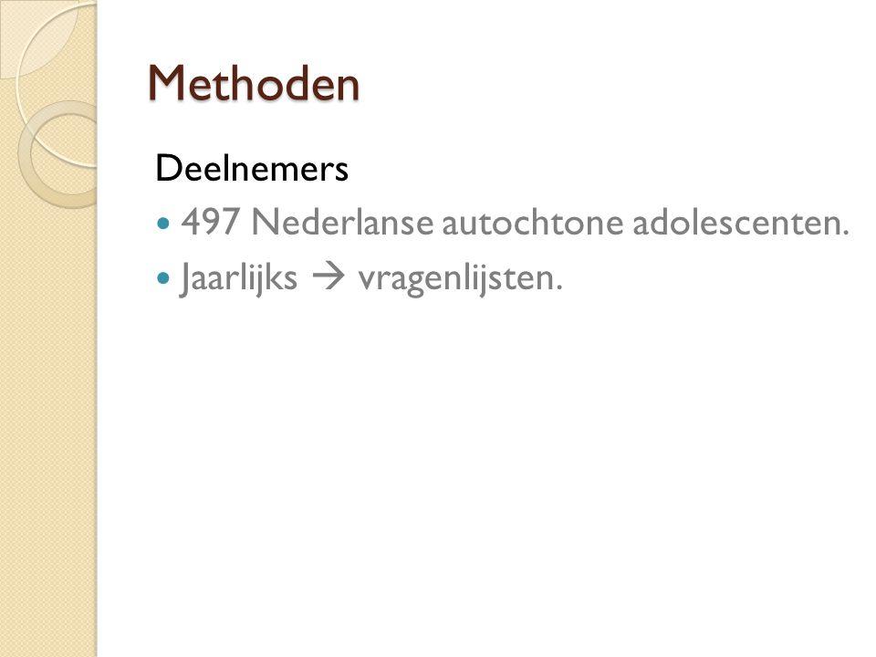 Methoden Deelnemers 497 Nederlanse autochtone adolescenten. Jaarlijks  vragenlijsten.
