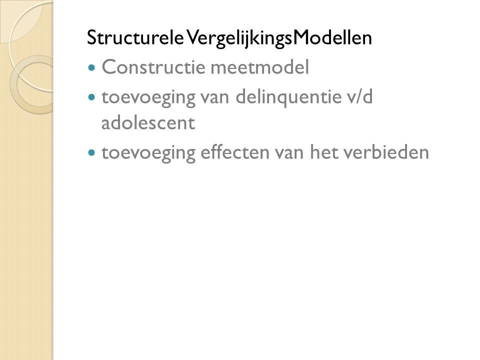 Structurele VergelijkingsModellen Constructie meetmodel toevoeging van delinquentie v/d adolescent toevoeging effecten van het verbieden