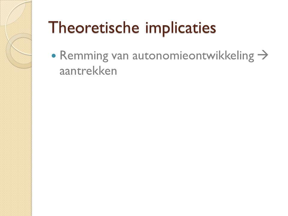 Theoretische implicaties Remming van autonomieontwikkeling  aantrekken