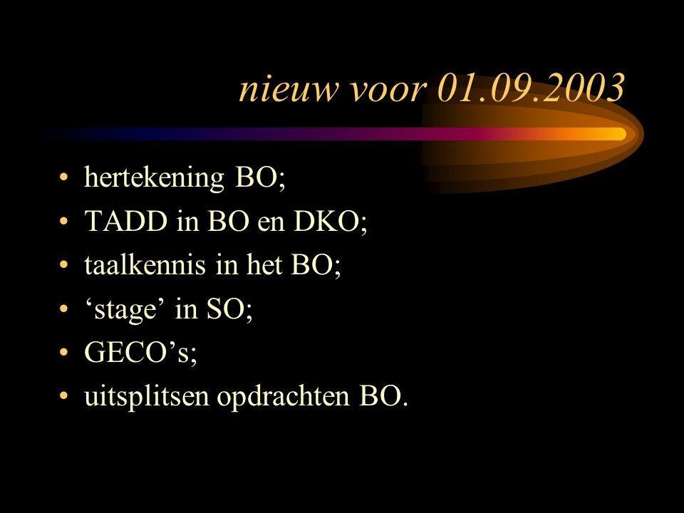 nieuw voor 01.09.2003 hertekening BO; TADD in BO en DKO; taalkennis in het BO; 'stage' in SO; GECO's; uitsplitsen opdrachten BO.